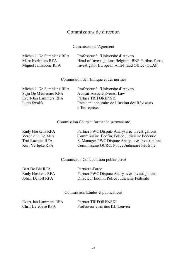 Commissions de direction                            Commission d'AgrémentMichel J. De Samblanx RFA      Professeur à l'Uni...
