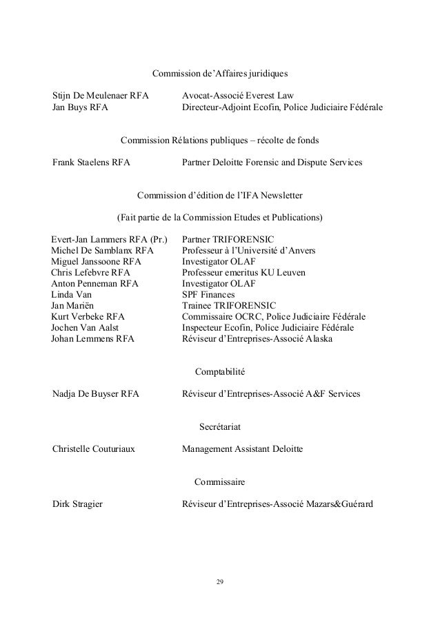 Commission de'Affaires juridiquesStijn De Meulenaer RFA            Avocat-Associé Everest LawJan Buys RFA                 ...