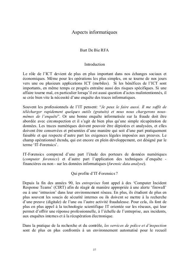 Aspects informatiques                                    Bart De Bie RFA                                       Introductio...