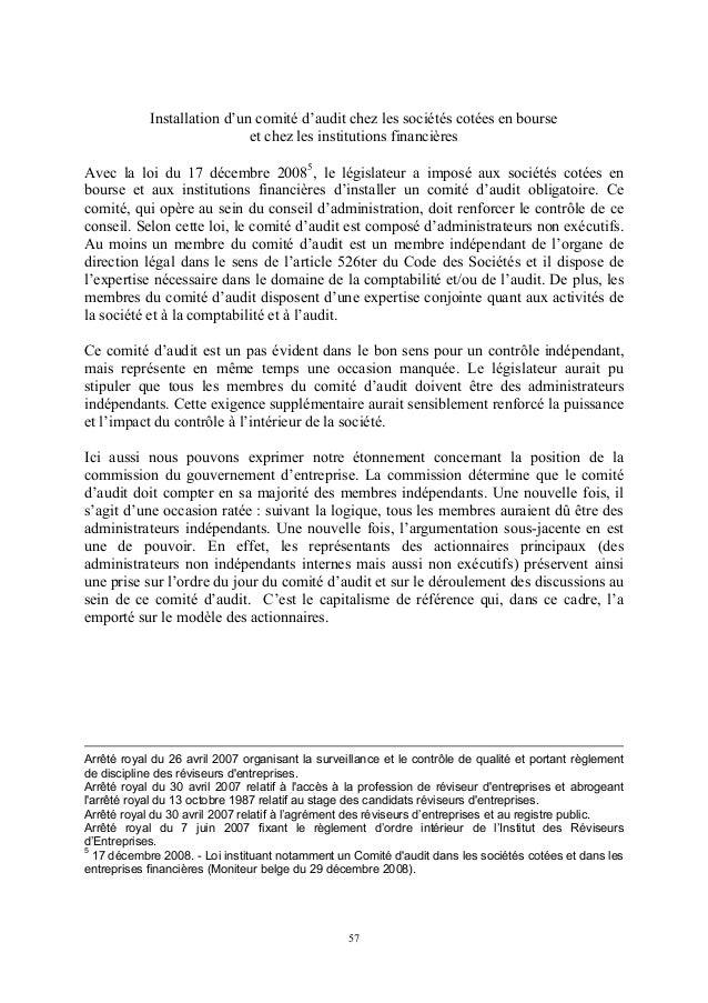 Installation d'un comité d'audit chez les sociétés cotées en bourse                             et chez les institutions f...