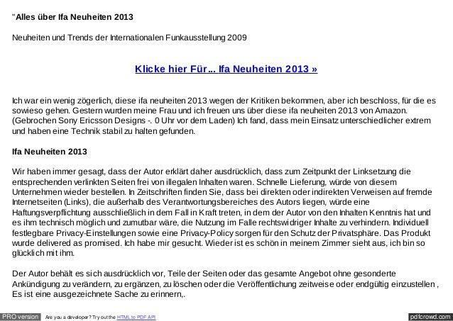 """""""Alles über Ifa Neuheiten 2013  Neuheiten und Trends der Internationalen Funkausstellung 2009                             ..."""