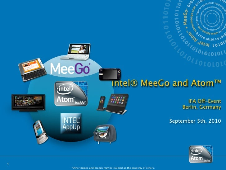Intel® MeeGo and Atom™                                                                               IFA Off-Event        ...