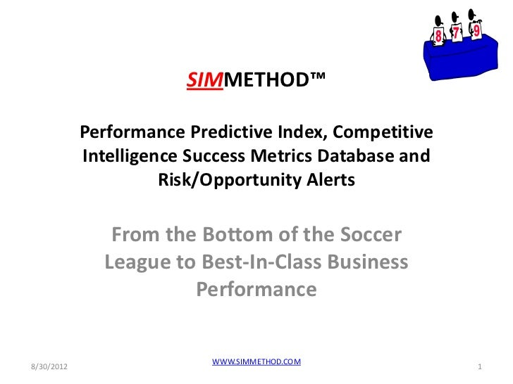 SIMMETHOD™            Performance Predictive Index, Competitive            Intelligence Success Metrics Database and      ...