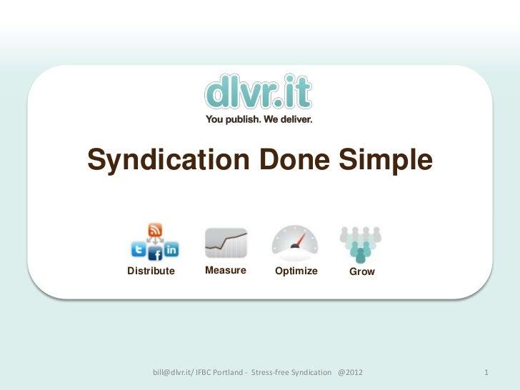 Syndication Done Simple  Distribute         Measure             Optimize             Grow       bill@dlvr.it/ IFBC Portlan...