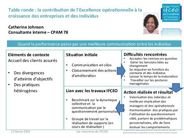 12février2016 Lesrencontresdel'IFCEO Tableronde:lacontribuIondel'ExcellenceopéraIonnelleàla croissancede...
