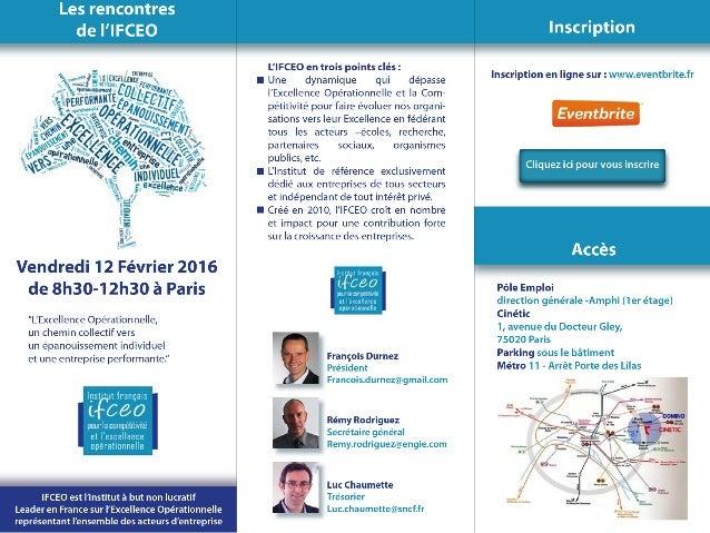 IFCEO 12 Février- Excellence Opérationnelle Epanouissement Individuel Chemin Collectif Entreprise Performante