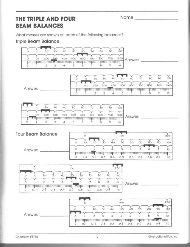 If chemistry workbook ch099 a – Triple Beam Balance Practice Worksheet