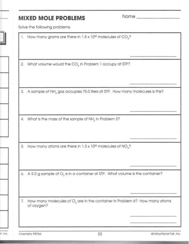 If chemistry workbook ch099 a – Mole Problems Chemistry Worksheet