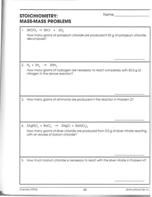 math worksheet : if chemistry workbook ch099 a : Mass Mass Problems Worksheet