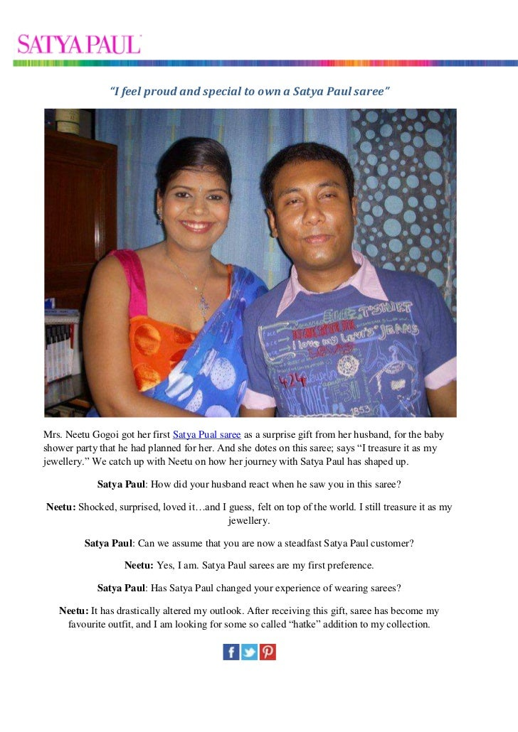 """""""I feel proud and special to own a Satya Paul saree""""Mrs. Neetu Gogoi got her first Satya Pual saree as a surprise gift fro..."""