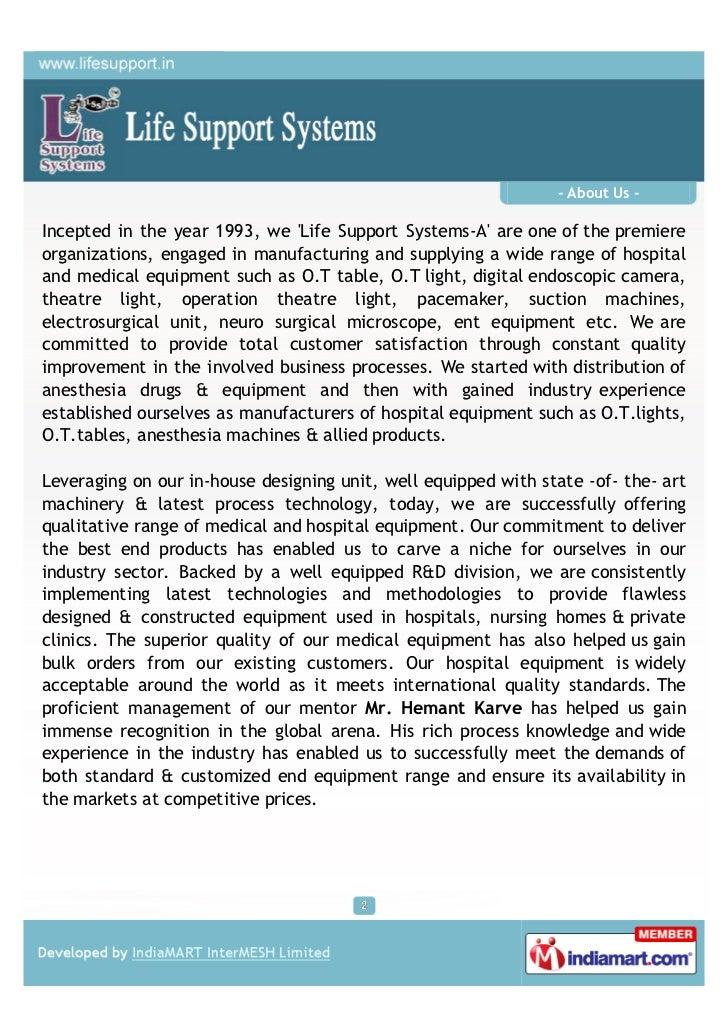 Life Support Systems, Kalyan, OT light Slide 2
