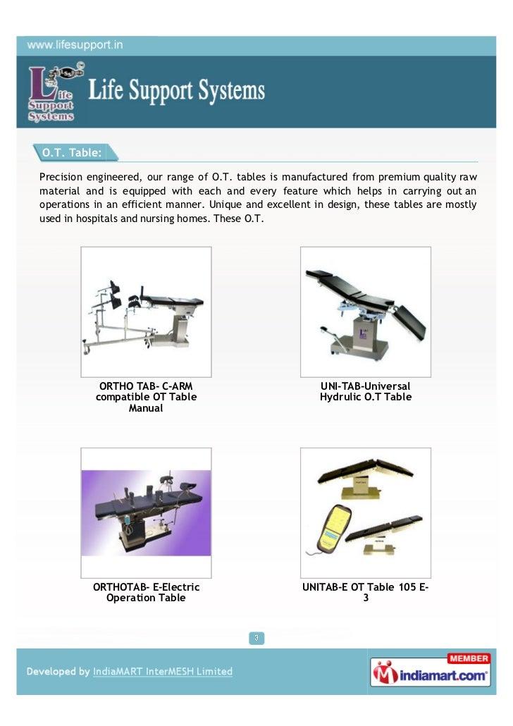 Life Support Systems, Kalyan, OT light Slide 3