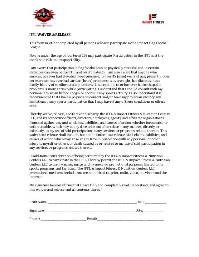 Liability Waiver Form. Iffl Liability Waiver Iffl Waiver&Release