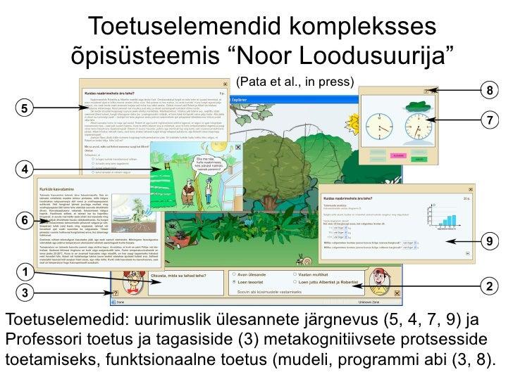 """Toetuselemendid kompleksses        õpisüsteemis """"Noor Loodusuurija""""                              (Pata et al., in press)To..."""