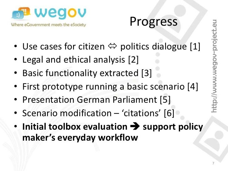 Progress•   Use cases for citizen  politics dialogue [1]•   Legal and ethical analysis [2]•   Basic functionality extract...