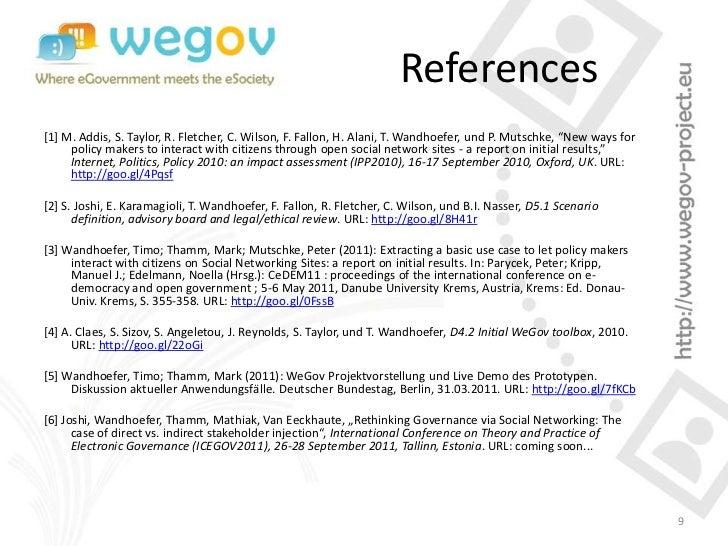 "References[1] M. Addis, S. Taylor, R. Fletcher, C. Wilson, F. Fallon, H. Alani, T. Wandhoefer, und P. Mutschke, ""New ways ..."