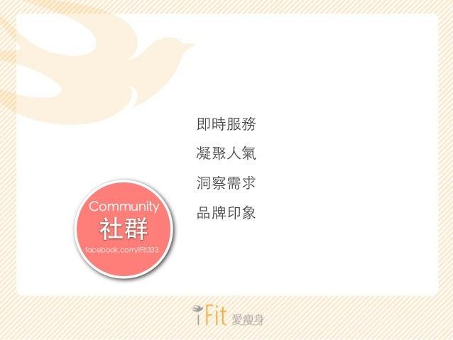 !  社群  Community  facebook.com/iFit333  即時服務  凝聚⼈人氣  洞察需求  品牌印象