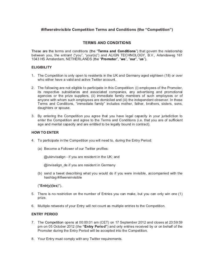 "#ifIwereInvisible Competition Terms and Conditions (the ""Competition"")                                  TERMS AND CONDITIO..."