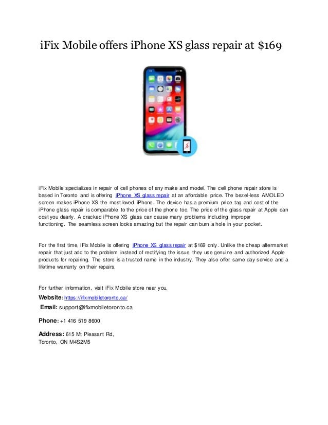 iFix Mobile offers iPhone XS glass repair at $169