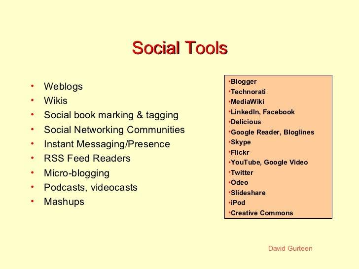 Social Tools <ul><li>Weblogs </li></ul><ul><li>Wikis </li></ul><ul><li>Social book marking & tagging </li></ul><ul><li>Soc...