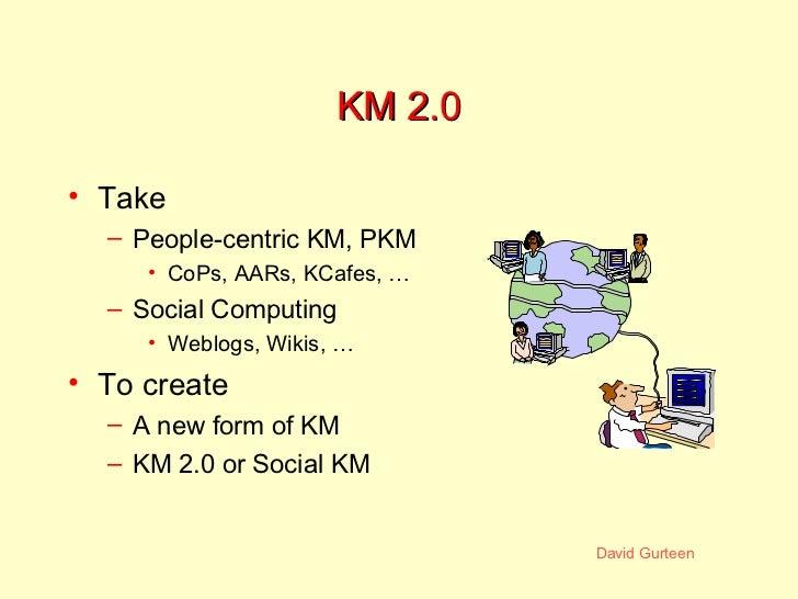 KM 2.0 <ul><li>Take </li></ul><ul><ul><li>People-centric KM, PKM </li></ul></ul><ul><ul><ul><li>CoPs, AARs, KCafes, … </li...
