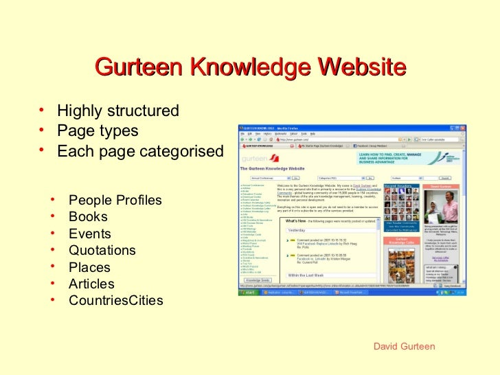 Gurteen Knowledge Website <ul><li>People Profiles </li></ul><ul><li>Books </li></ul><ul><li>Events </li></ul><ul><li>Quota...