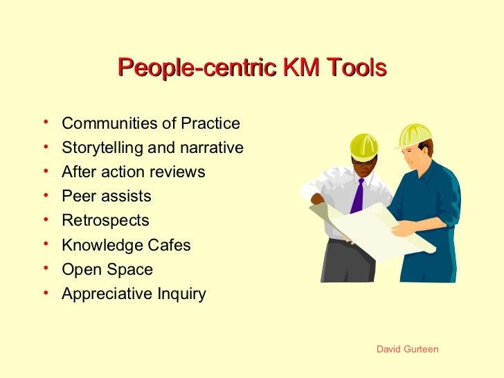 People-centric KM Tools <ul><li>Communities of Practice </li></ul><ul><li>Storytelling and narrative </li></ul><ul><li>Aft...