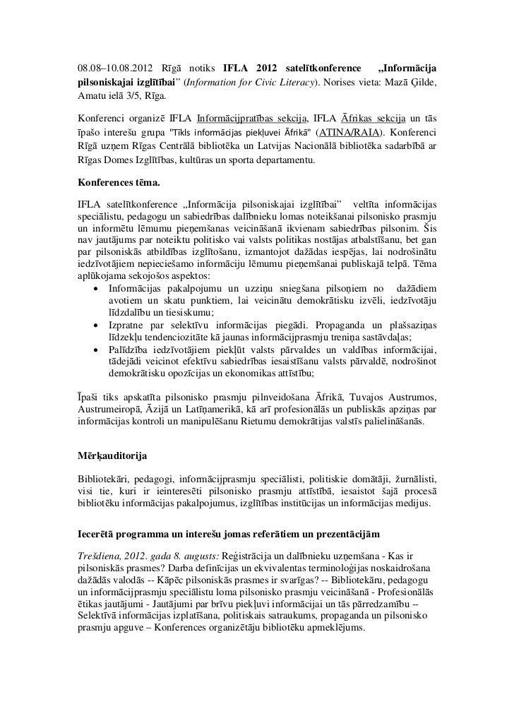 """08.08–10.08.2012 Rīgā notiks IFLA 2012 satelītkonference                 """"Informācijapilsoniskajai izglītībai"""" (Informatio..."""
