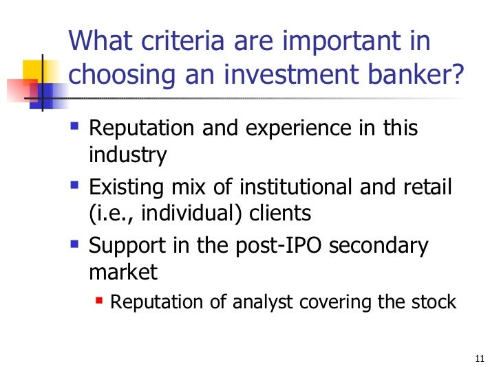 Investment bankers and ipo