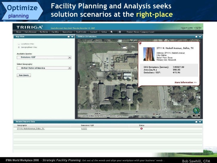 Facility Planning and Analysis seeks  solution scenarios at the  right-place   Optimize   planning  Emissions /GSF Dallas-...