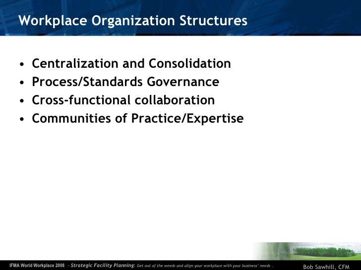 Workplace Organization Structures <ul><li>Centralization and Consolidation </li></ul><ul><li>Process/Standards Governance ...