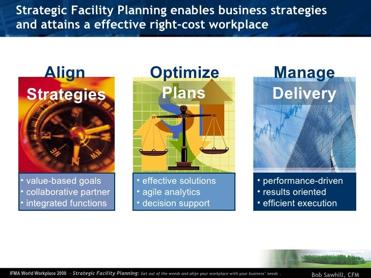 Strategic Facility Planning enables business strategies  and attains a effective right-cost workplace <ul><li>value-based ...