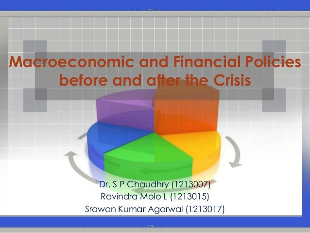 Macroeconomic and Financial Policies     before and after the Crisis            Dr. S P Chaudhry (1213007)            Ravi...