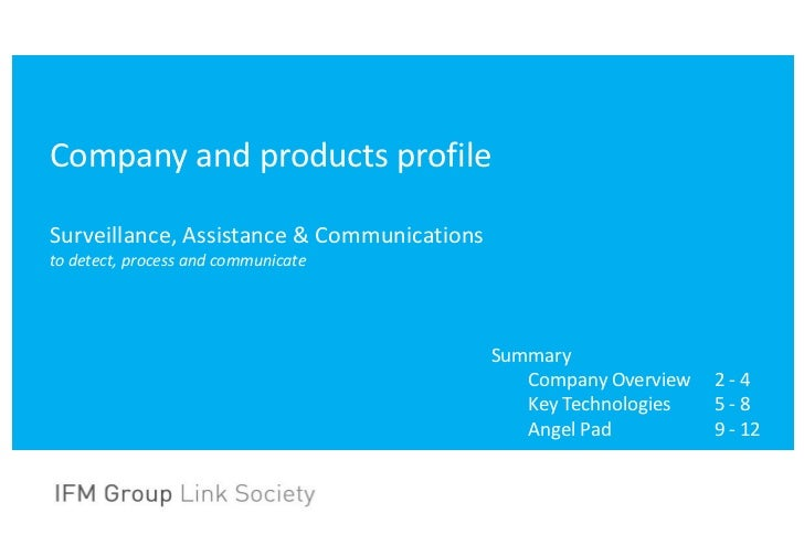Company and products profileSurveillance, Assistance & Communicationsto detect, process and communicate                   ...