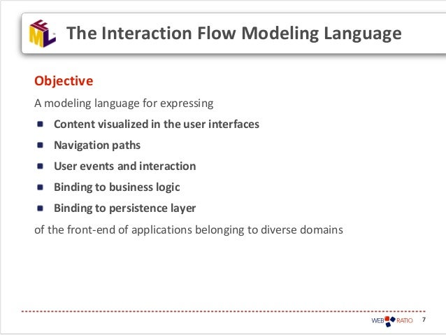 7ObjectiveA modeling language for expressingContent visualized in the user interfacesNavigation pathsUser events and inter...