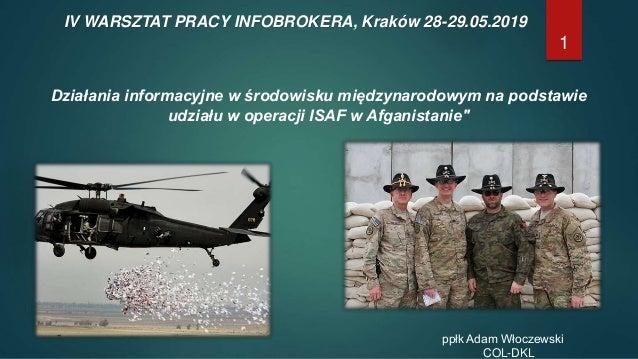 1 IV WARSZTAT PRACY INFOBROKERA, Kraków 28-29.05.2019 Działania informacyjne w środowisku międzynarodowym na podstawie udz...