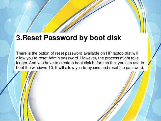 I forgot my hp computer password windows 10