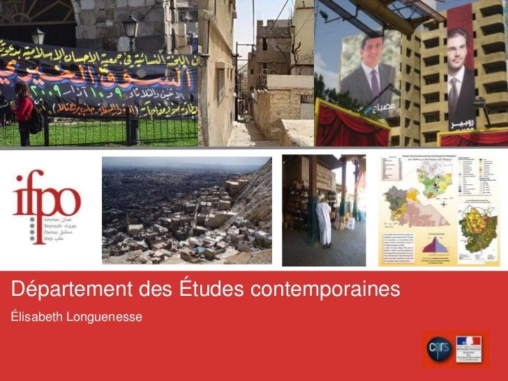 Département des Étudescontemporaines<br />ÉlisabethLonguenesse<br />
