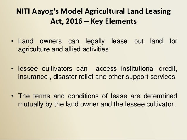 IFPRI-TAAS-ICAR- A note on Agricultural Land Leasing Reform