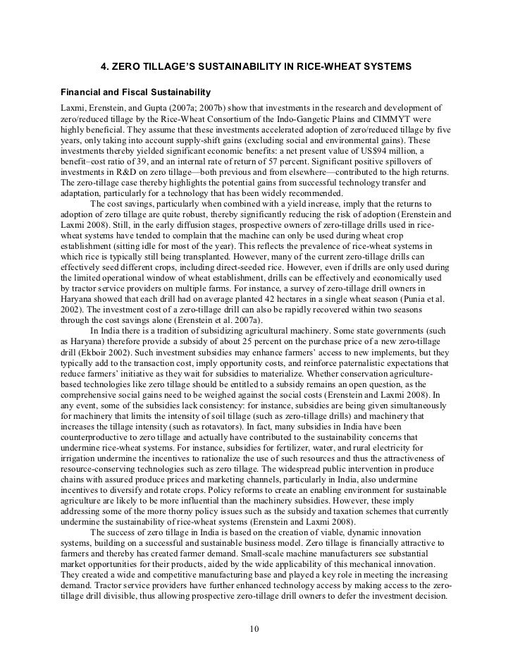 4. ZERO TILLAGE'S SUSTAINABILITY IN RICE-WHEAT SYSTEMSFinancial and Fiscal SustainabilityLaxmi, Erenstein, and Gupta (2007...