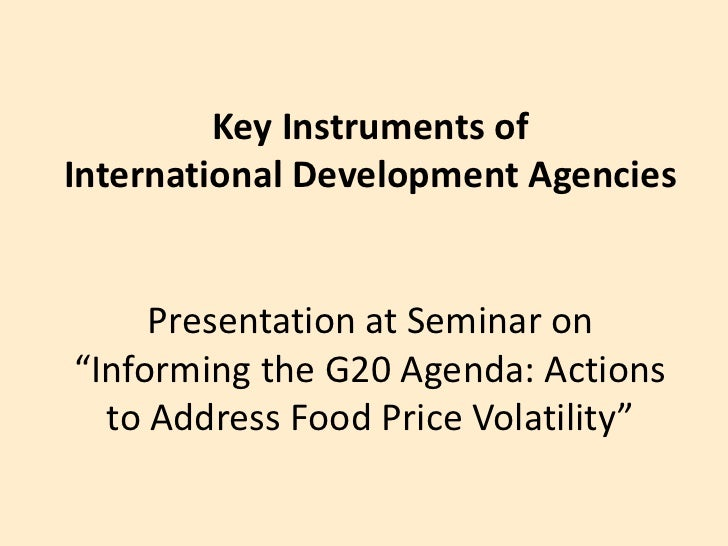 "Key Instruments of International Development AgenciesPresentation at Seminar on""Informing the G20 Agenda: Actions to Addre..."
