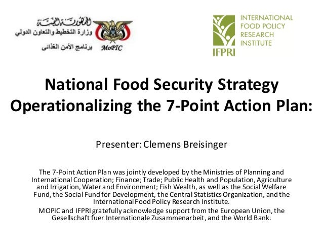 National Food Security Strategy Operationalizing the 7-Point Action Plan: Presenter:Clemens Breisinger The 7-Point Action ...