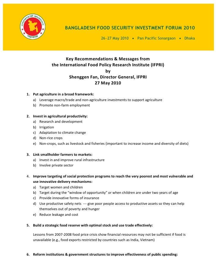 BANGLADESH FOOD SECURITY INVESTMENT FORUM 2010                                                 2627 May 2010  Pan Pacifi...
