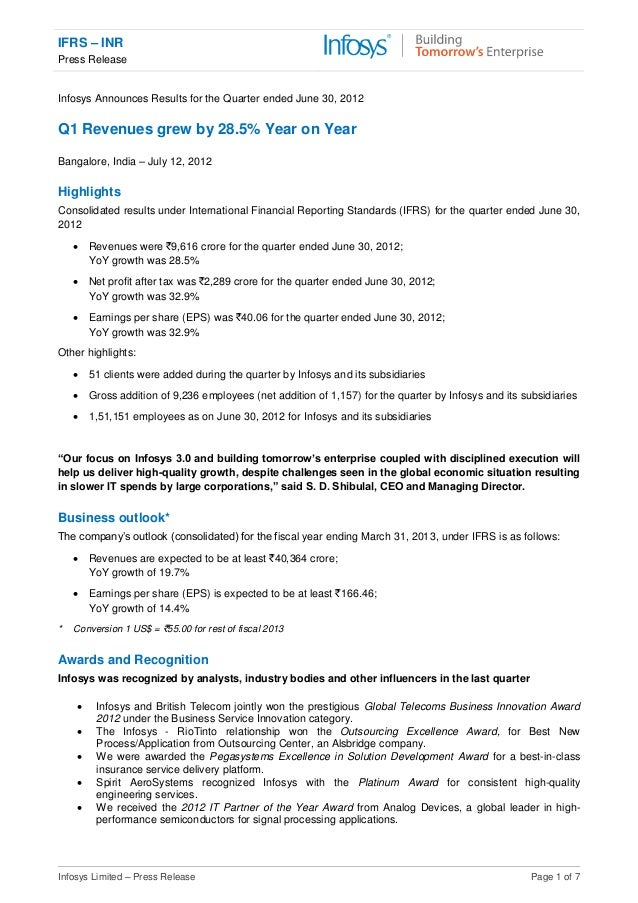 IFRS – INR Press Release Infosys Limited – Press Release Page 1 of 7 Infosys Announces Results for the Quarter ended June ...