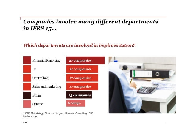 PwC 11 Which departments are involved in implementation? * IFRS Metodology, BI, Accounting and Revenue Controlling, IFRS M...