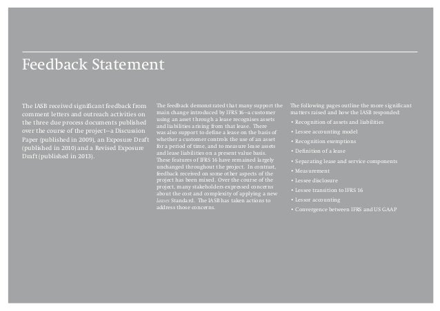 Project Summary and Feedback Statement IFRS 16 Leases