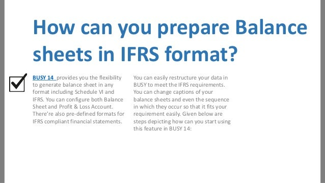 Prepare Balance Sheets and Profit Loss Ac in IFRS format – Prepare Balance Sheet