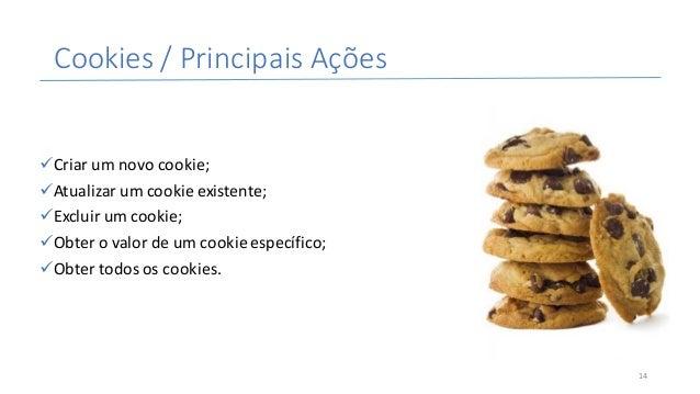 Cookies/PrincipaisAções üCriarumnovocookie; üAtualizarumcookieexistente; üExcluirumcookie; üObterovalordeu...
