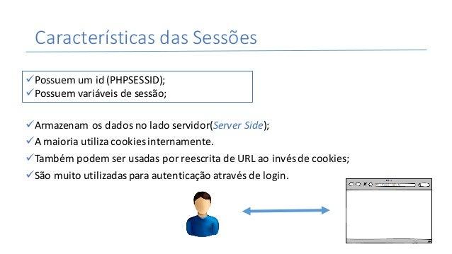 CaracterísticasdasSessões üArmazenamosdadosnoladoservidor(ServerSide); üAmaioriautilizacookiesinternamente. üT...