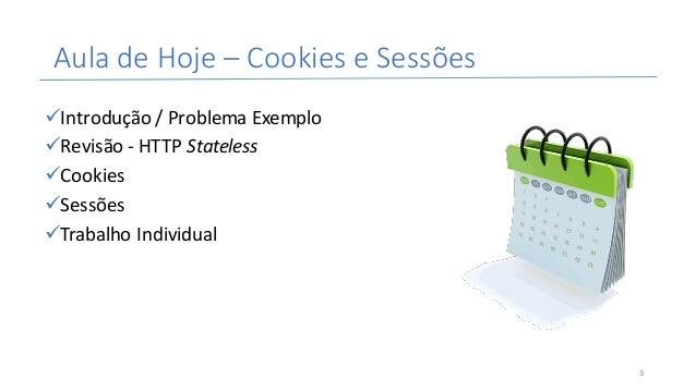 AuladeHoje– CookieseSessões üIntrodução/ProblemaExemplo üRevisão- HTTPStateless üCookies üSessões üTrabalhoIndi...